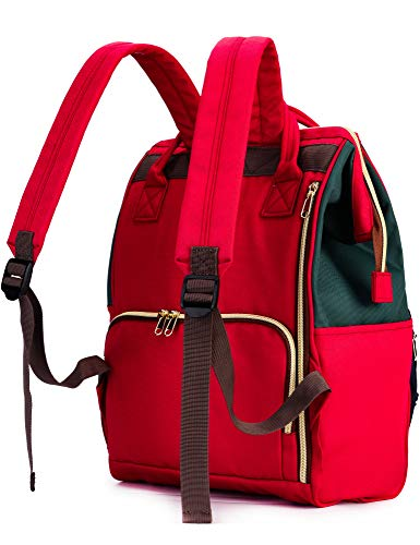 Kah&Kee Polyester Travel Backpack Functional Anti-theft School Laptop for Women Men (Green/Navy/Red, Large)