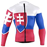 CHINEIN Men's Cycling Jersey Long Sleeve with 3 Rear Pockets Shirt Slovakia Flag