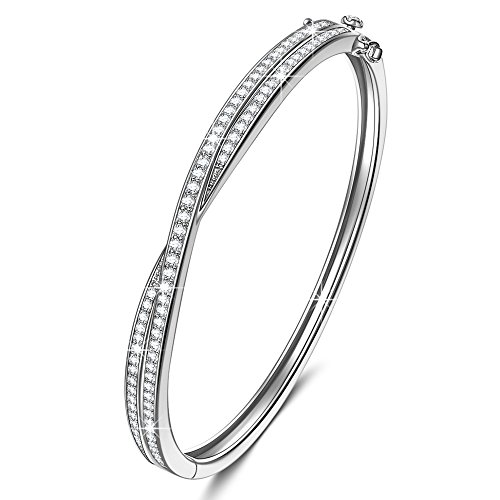 let for Women Fine Jewelry Shall We Dance s925 Sterling Silver AAA CZ Infinity Bracelet Birthday Gifts for Wife Gifts for Women Anniversary Gift from for Girlfriend Gifts for Her (White Gold Bangle)