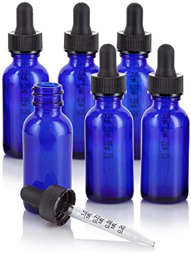 1 oz Cobalt Blue Glass Boston Round Graduated Measurement Glass Dropper Bottle (6 pack) + Funnel for essential oils, aromatherapy, e-liquid, food grade, bpa free ()