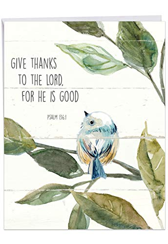 Jumbo Thank You Card: Scripture Birds Featuring Songbirds Perched Reading Biblical Verse, With Envelope (Large Size: 8.5