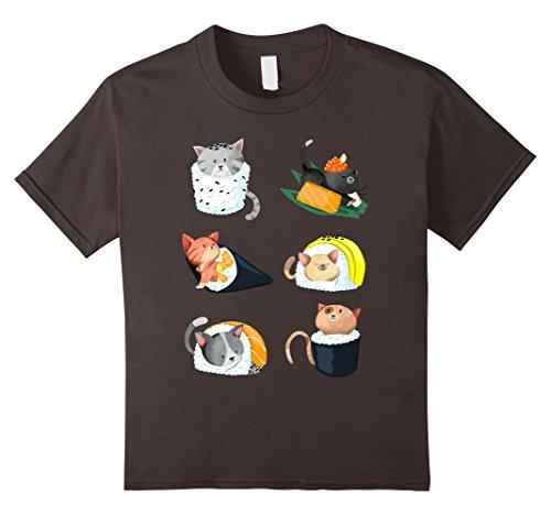 Kids Sushi Cat Lover Nigiri Hand Roll Cute Gift Tee 4 Asphalt