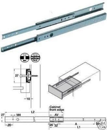 DRAWER RUNNER MFI 28MM X 278 EXTENDS TO 452MM pk of 4 SETS
