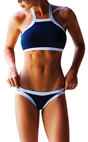 Simplicity Women's Printed High Neck Bikini Set Swimsuit, Blue White Line, M
