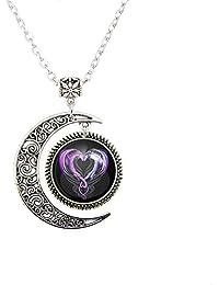 Moon pendant Dragon Heart necklace Dragons pendant necklace Dragons necklace Dragons jewelry necklaces