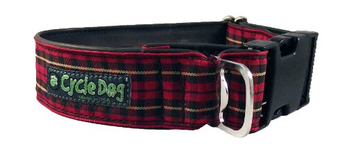 Cycle Dog Bottle Opener Recycled Dog Collar, Wide Width, Red Plaid, Medium
