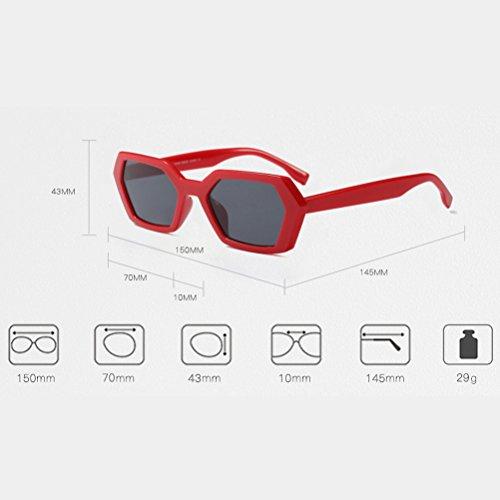 de Estuche de Estilo Retro Vintage del Señoras Red Zhuhaitf con del Gafas UV Protección Hombre Gafas 400 Sol y de 5tnaq