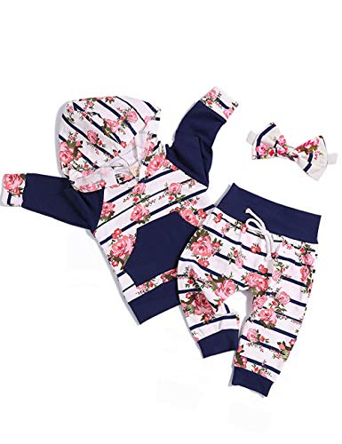 Toddler Infant Baby Girls Long Sleeve Plum Blossom Hoodie Sweatshirt Top with Floral Pants Newborn Outfit Set 0-6month,70