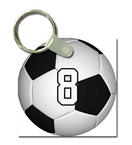 TYD Designs Key Chain Sports Soccer Customizable 2 Inch Metal and Fully Assembled Ring with Any Team Jersey Player Number 8 -