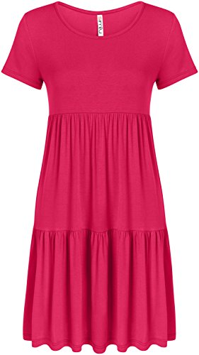 Baby Doll A-line - Simlu Fuchsia Summer Dress Hot Pink Jersey Dress Plus Size a Line Short Sleeve Dress Fuchsia Medium, Fuchsia, Medium
