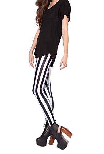DH-MS Dress Black and White Vertical Striped Pattern Printed Leggings Female Tide Pants