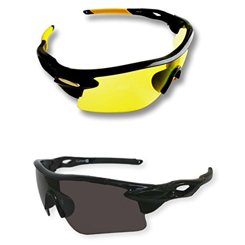 BEST Shooting Glasses UV Blacklight Flashlight Yellow Safety Eye protection by iLumen8. See Dog Cat Urine with Amber Black Lights Night Vision Ultraviolet (Yellow & Black, 2 Pair)
