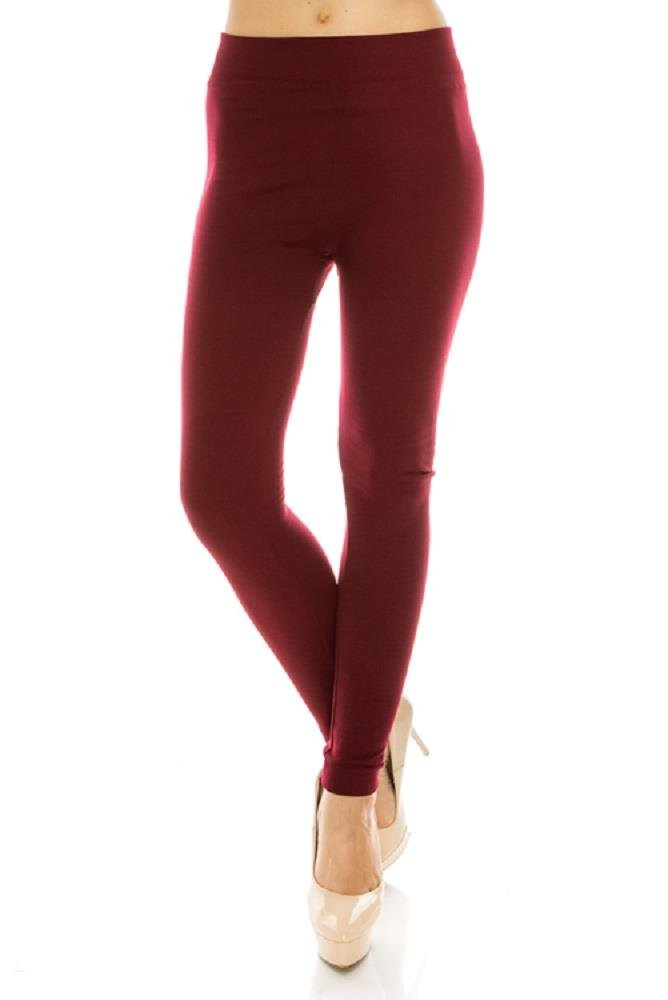 Jvini Women's Ultra Soft High Waist Solid Fleece Lined Leggings Pants Burgundy