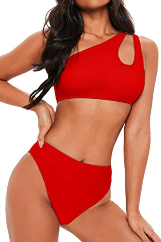 FAFOFA Two Piece Swimwear for Women One Shoulder Cutout High Waist Cheeky Bikini Set Beachwear Red M