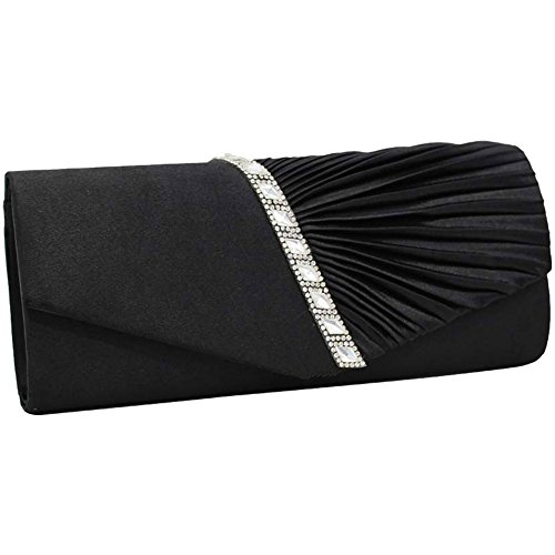 Purse Women Evening Handbag Red Black Pleat Crystal Wiwsi Studded Bag Elegant Clutch Satin X0qgzCAxnw