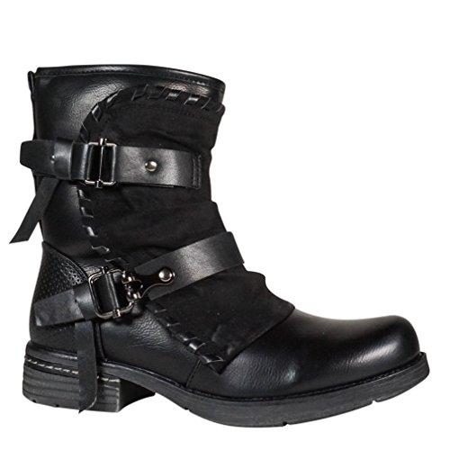 Damen Worker Stiefel gefüttert Stiefeletten Boots Outdoor Winter Biker Schwarz ST101
