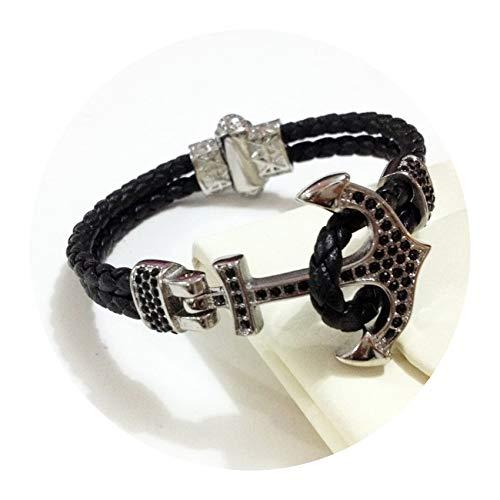 Anchor Bar Peppers - Cyan mango Punk Navy Anchor Bracelet Men Stainless Steel Blue Leather Cuff Bracelets & Bangles Men Women Gift,Black Silver,18cm
