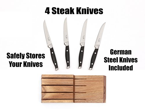 4 Steak Knife Starter Cutlery Set with Solid Acacia In Drawer Storage Knife Block Included, Knives with German Steel