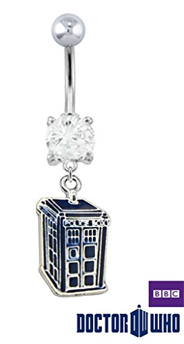 Officially Licensed Doctor Who Blue Telephone Booth Tardis Dangle Belly button navel Ring piercing bar body jewelry 14g