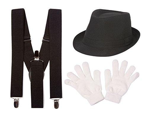 [Mime Costume Kit, Black w/ White Band Fedora, Black Suspenders, White Gloves] (Mime For Halloween)