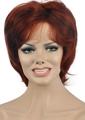 Diy-Wig Short Red Brown Vintage Style Hair Wigs for Lady Retro Costume Party Wig (Fancy Dress Red Wig)