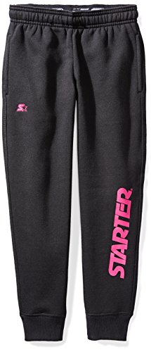 Starter Girls' Jogger Sweatpants Pockets, Prime Exclusive, Black Power Pink Logo, M (7/8) by Starter (Image #1)