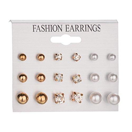 DENER 9 sets of Women Ladies Large Circle Earrings,Pearl Rhinestone Piercing Ear Clips Stud Hoop Dangle Drop Eardrop Earrings (Gold) -
