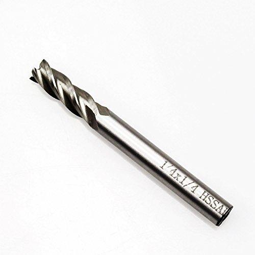 Sutemribor High Speed Steel HSS 4 Flute Straight End Mill Cutter (1/4