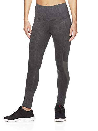 Reebok Women's High Rise Leggings Performance Compression Pants - Charcoal Mine Heather, Large -
