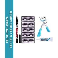 RTB False Eyelashes-Set of 5, Eyelashes Glue 36 hrs eyeliner Eyelash Curler