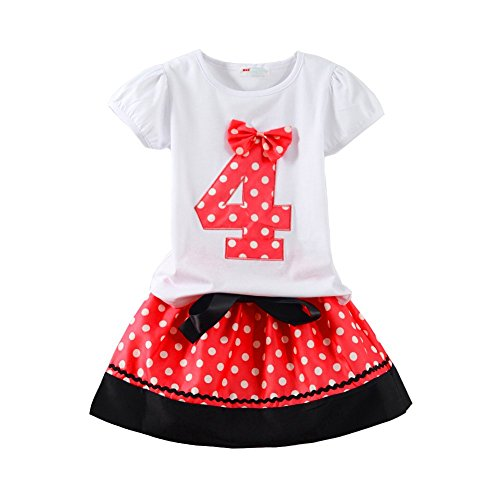 Mud Kingdom Little Girls Birthday Outfits I Am 4 Years Clothes Skirt Sets Red 4T