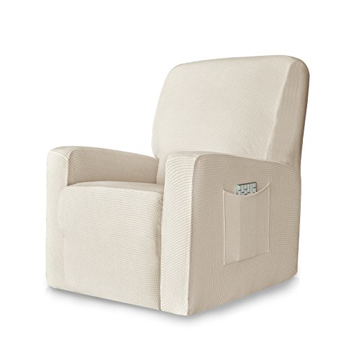 Chunyi 1-Piece Stretch Spandex Jacquard Recliner Chair Slipcovers (Recliner, Ivory White) - 1 Piece Recliner Slipcover