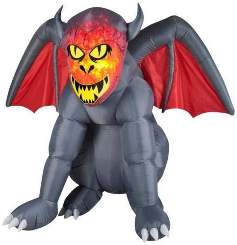 oldzon Inflatable 5' Airblown Fire & Ice Gargoyle Halloween Yard Decoration with Ebook]()