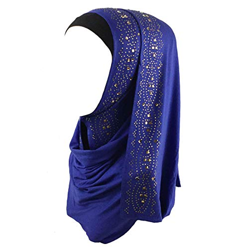 Cotton Jersey Hijab Scarf Wrap Glittering Rhinestones Scarf for Women Solid Color Scarf (Dark Blue)