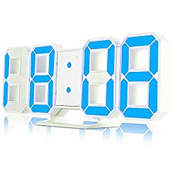 iLifeSmart 3D Digital Alarm Clock, Wall Alarm Clock with Snooze Function and 3 Adjustable Brightness Levels, 24/12H Digital Clock LED Display for Wall, Table, Kitchen, Office and Home Decorations - Bl