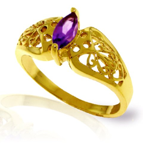 Galaxy Gold 14k Yellow Gold Filigree Ring with natural Marquise-Shaped Amethyst - Size 7.0