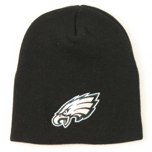 Philadelphia Eagles Uncuffed Embroidered Logo Winter Knit Beanie Hat - Big Logo (Big Logo Beanie)