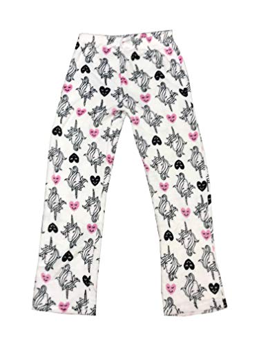 - Unicorn Hearts Print Plush Lounge Pants Womens Juniors White (Large)