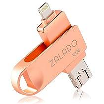 USBメモリ 32GB ZALADO iPhone 32gb フラッシュドライブ 回転式 フラッシュメモリ 高速データ転送 IOS/Android/PC対応 スマホ 容量不足解消 一本三役 日本語取扱説明書付き(グレー 32GB)