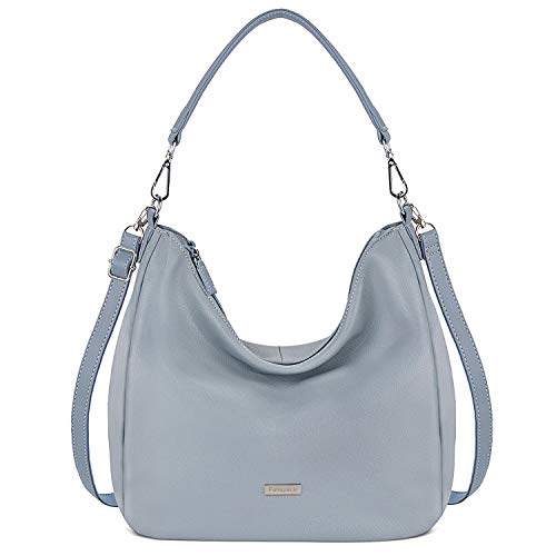 Fanspack Women Handbags PU Leather Handbags Tote Shoulder Bag Ladies Handbags and Purses (Grey Blue)