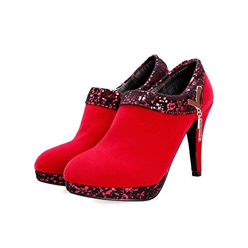 Allhqfashion Mujeres Assorted Color High-heels Zipper Round Bombas De Punta Cerrada Zapatos Rojos
