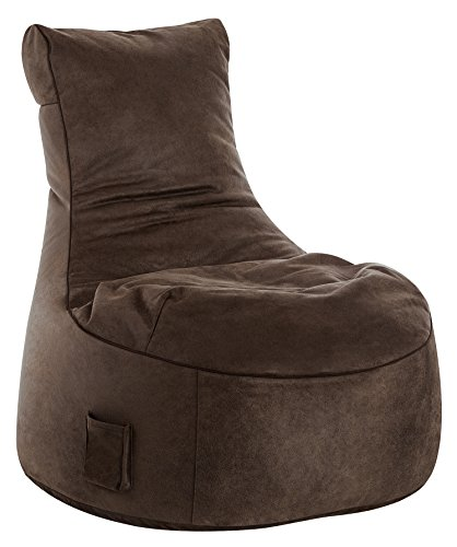 Gouchee Home S2904070 Swing Cuba Collection Faux Suede Upholstered Bean Bag Armless Lounge Chair, Brown