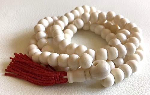 108 Bone mala beads PRAYER JAPA MANTRA TANTRA MALA NECKLACE-BLESSED & ENERGIZED TOP QUALITY (108+1) 7-8 MM HINDU…