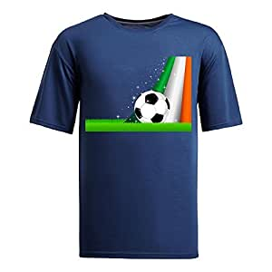 MEIMEICustom Mens Cotton Short Sleeve Round Neck T-shirt,2014 Brazil FIFA World Cup Soccer Ireland navyMEIMEI