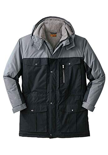 Boulder Creek Men's Big & Tall Colorblock Hooded Parka, Black Steel Big-XL