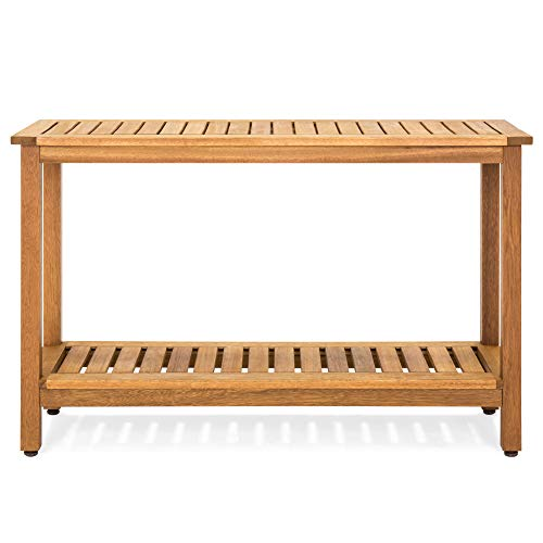 Best Choice Products 48in 2-Shelf Indoor Outdoor Multifunctional Eucalyptus Wood Buffet Bar Storage Console Table Organizer w/Natural Finish