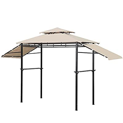 Leisurelife Outdoor BBQ Grill Gazebo 13.5ft - 2-Tier Soft Top Canopy Tent for Patio