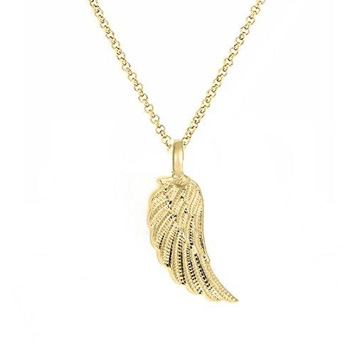 Treend24 Damen Flügel Halskette Anhänger Engelsflügel Engelskette Schlicht Elegant Ohne Strass Silber Rosegold Schwarz Gold engel03