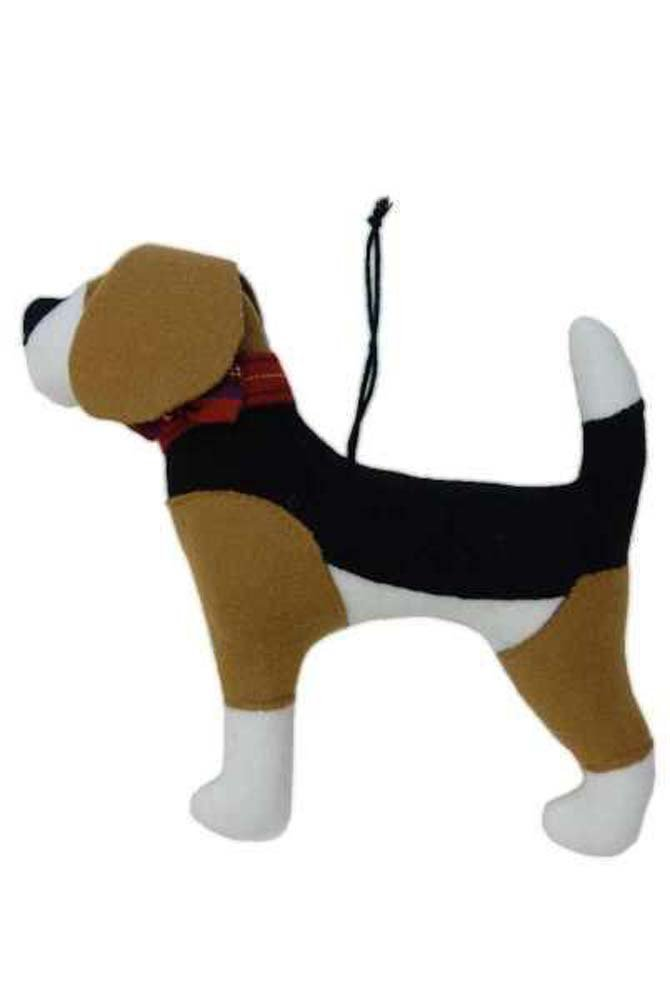 Beagle Dog Plaid Collar 7.5 Inch Plush Acrylic Christmas Ornament Figurine