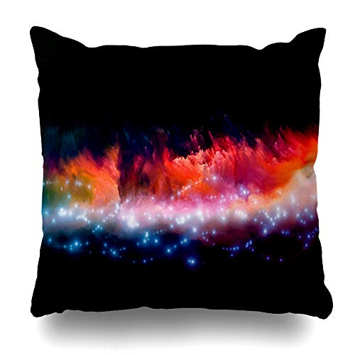 Ahawoso Throw Pillow Cover Effect Clouds Fractal Foam Abstract Lights Metaphor On Subject Spirituality Painting Mystical Home Decor Cushion Case Square Size 18 x 18 Inches Zippered Pillowcase